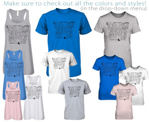 assortment of t-shirt styles available